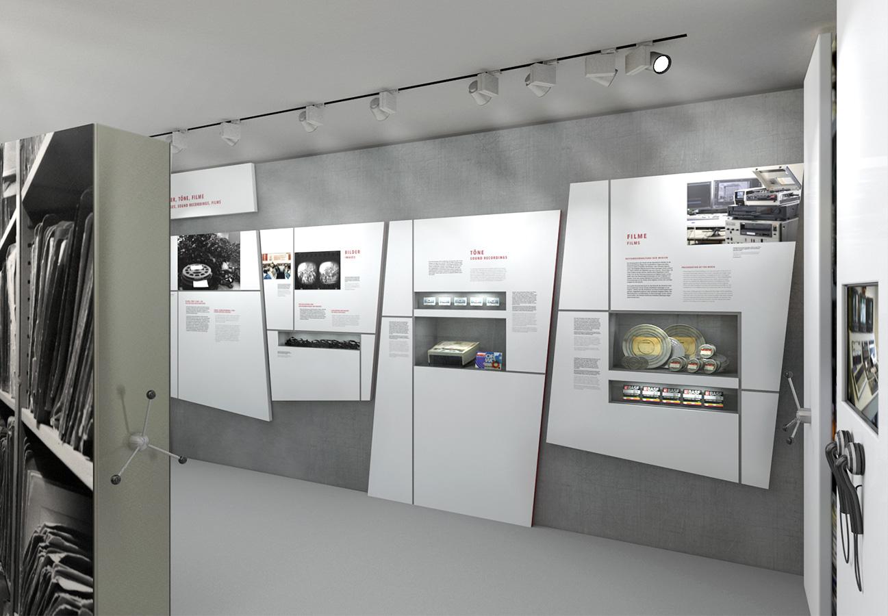Archivgut in Wandvitrinen, 3D-Visualisierung